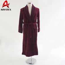 Customize popular cuff sleeve minky bathrobe soft flannel fleece solid color purple red women bathrobe