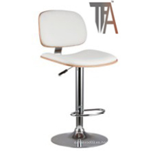Material de la PU y asiento de madera con silla de barra de plata cromada