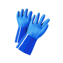 Long Cuff Chemical Resistant Waterproof Cotton Interlock Liner Sandy PVC Dipped Gloves