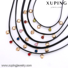 43630 xuping wholesale girl's fashion jewelry 18k gold colorful stones heart shaped leather choker necklace