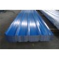 Chapa de acero trapezoidal recubierta de color azul claro