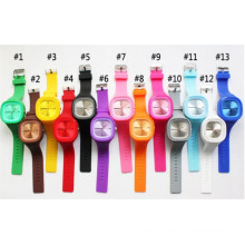Yxl-980 Hot Sale Silicone Jelly Colorful Rubber Band Watch, Simple Women Wristwatches