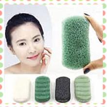 2015 Natural Vegetable Plant Esponja de chá verde Konjac para cuidados com a pele e limpeza de rosto