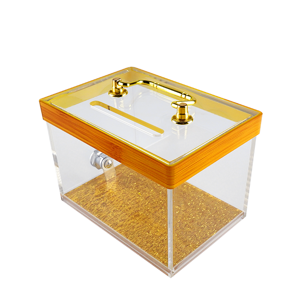 Casino Quality Luxury Golden Bottom Acrylic Tip Box With Lock