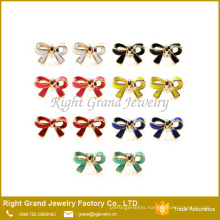 Assorted Colors Ribbon Enamel Paint Cute Stud Earrings