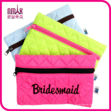 Envelope Style Quilted Satin Polyester Full Closure Zipper Pocket Makeup Bag Cosmetic Case Travel Pouch Toiletry Accessories Organizer