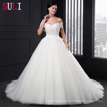 SL-005 Tulle de encaje encantador con el vestido de boda del vestido de bola de las perlas 2016
