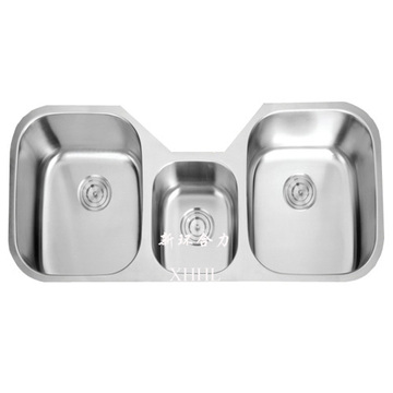 Tenggelam Dapur Stainless Steel Triple Bowl