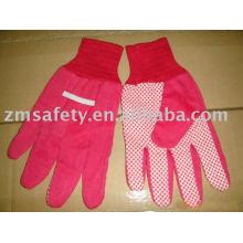 Red color Pvc dots cotton garden glove