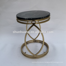 Modern style bedroom side table with marble top gold color end table