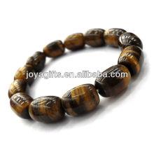 Bracelet ovale à perles gemmes tigereye stretch