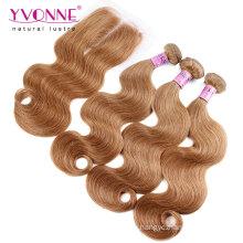 Цвет #8 Бразильский weave волос связки с кружевом закрытие