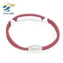 Gut gestaltetes rotes Damenarmband aus PU-Leder mit Edelstahl
