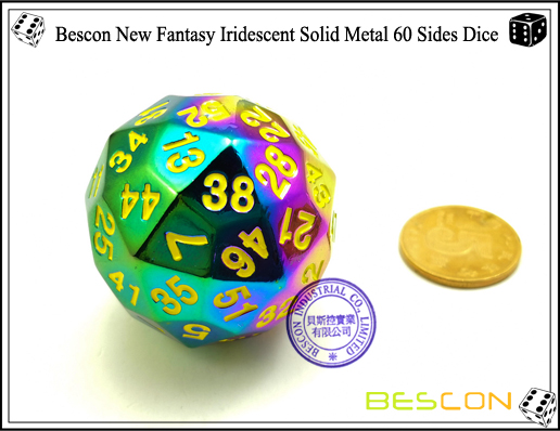 Bescon New Fantasy Iridescent Solid Metal 60 Sides Dice-3