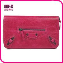 Luxury Women′s Designer Zipper Waxy Leather Wallet Clutch Purse Card Phone Holder Coin Case