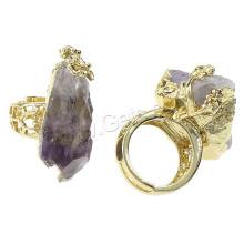 2015 Gets.com Натуральный агат Druzy Finger Ring, латунь, с агатом, самородки, позолоченные, регулируемые и полые