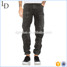 Pendientes de pierna Drawcord negro mens jeans de bolsillo lateral 2017 jeans de moda