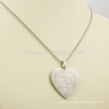 stainless steel heart necklace pendant silver engravable