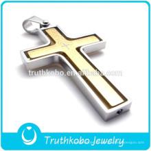 Premier Designs Jewelry 14K Gold IP Plating Acero inoxidable Señores oración corte láser de gama alta cruz colgante para collar joyería