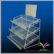 Desmontable Metal Display estante de metal de supermercado para Vegetales y Frutas