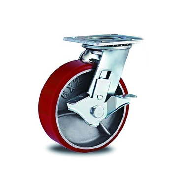 Heavy Duty PU with Iron Side Brake Casters