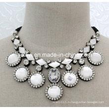 Леди модные ювелирные изделия Белый стеклянный Кристалл Кулон воротник ожерелье (JE0198)