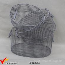 Vintage Handcraft Set 3 Metal Wire Stackable Oval Storage Basket