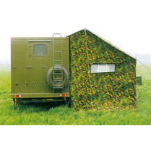 Tenda militar com trailer para ducha fria