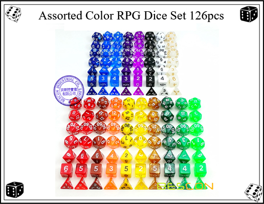 Assorted Color RPG Dice Set 126pcs-3