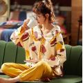 Conjunto de pijama feminino fofo de algodão de manga comprida