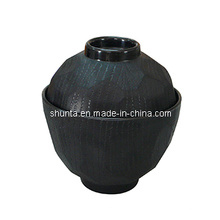 100%меламин посуда-Мисо-суп чаши W/крышки (внутри блестящая, снаружи матово-деревянные) /меламин чаша (QQBK15209S)