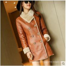 Manteau et manteau de fourrure en peau de mouton véritable hiver pour femme style long