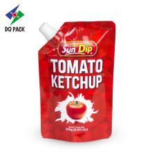 Stand up pouch com bico para ketchup de tomate