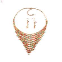 2018 African Nigerian Frauen Halskette Perlen Schmuck-Set