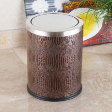 Brown Leather Stainless Steel Top 12L Push Dustbin (F-12LI)