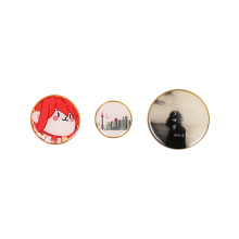 Promotional MOQ Wholesale Custom Print Metal Pin Button Name Heart Shaped Badge Magnet