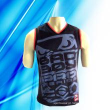 100% Polyester man mangas de basquete Jersey