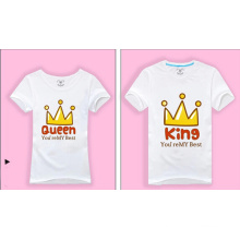 Neuer Entwurf druckte kundenspezifische weiße T-Shirts für Paare