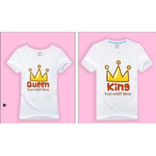 El nuevo diseño imprimió las camisetas blancas de encargo para el par
