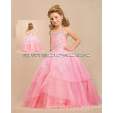 Hot! Pink halter broderie perlée concours robe de bal robes fille fleur CWFaf4301