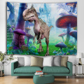 Dinosaurier Wandteppich Wild Anicient Animals Wandbehang Tropical Jungle Natural Magic Castle 3D Wanddecke für Kinder Schlafzimmer L