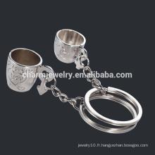 Couple tasses Porte-clés bon marché Lovers Cup couple porte-clés porte-clés anneau porte-clés YSK012
