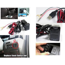 Dual USB Charger Audio Port Interface for Toyota Corolla Blank Switch