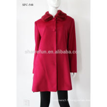 Luxe classique style femmes Cachemire manteau 90% laine chaude hiver long manteau en gros