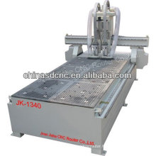 JK-1340 wood cnc router machine with two head and larger format table