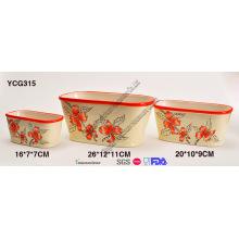 Cerâmica pintados à mão Flower Pots conjunto de 3
