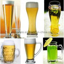 Copa de taza de cerveza de vidrio de alta capacidad y calidad con varios estilos