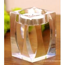 Castiçal de castiçal de cristal simples para decoração de casamento