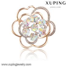 00030 cristales elegantes de la moda de la flor del broche de la joyería de Swarovski en chapado en oro