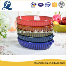 Classic style large oval bakeware embossed tableware ceramic pan